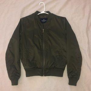 AEO Women's Small Olive Green Bomber Jacket